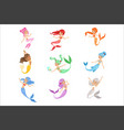 cute fairy tale mermaid princess with colorful vector image vector image
