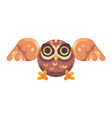 cute little brown owl hunting flat icon vector image vector image