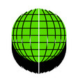 earth globe sign green 3d icon with black vector image vector image