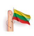 finger with lithuania waving flag vector image vector image