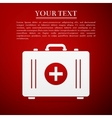 First aid box flat icon on red background Adobe vector image