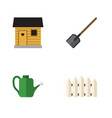 flat icon garden set of wooden barrier shovel vector image