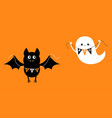 flying bat ghost holding bunting flag boo happy