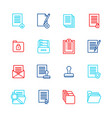 folders thin line icon color set vector image