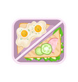 fried eggs on toast bread and sandwich with vector image
