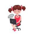 girl sitting with laptop and learning coding vector image vector image