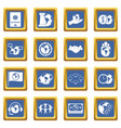 global connections icons set blue vector image vector image