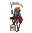 Halloween Pumpkin Head Jack The Reaper vector image vector image