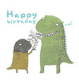 happy birthday dinosaur make a wish vector image
