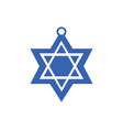 jewish star blue and white color in flat design vector image