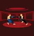 mix martial art battle in red ring vector image