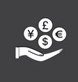 money in hand icon with shadow on black vector image