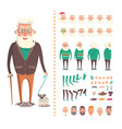 old man constructor grandparent with toy dog vector image vector image