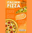 poster of iltalian pizza sketch fast food vector image vector image