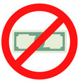 prohibition of cash vector image vector image
