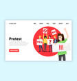 protesting people landing page vector image