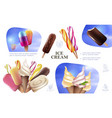 realistic fresh ice cream composition vector image vector image