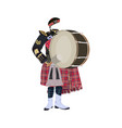 scottish traditional clothes bass drum vector image vector image