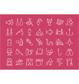 set flat line icons fishing vector image vector image