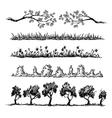set nature hand drawn dividers vector image vector image