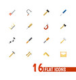 set of 16 editable tools flat icons includes vector image vector image