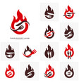 set of hot steak logo with flame fork and knife vector image vector image