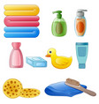 set of toiletries in the bathroom isolated on whit vector image