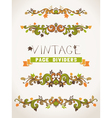 Set of vintage design elements with leaves vector image vector image