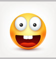 smileysmiling happy emoticon with teeth yellow vector image