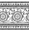 Tribal ethnic stripe seamless Black and white vector image vector image