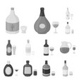 types of alcohol monochrome icons in set vector image