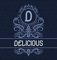 vintage label design template for delicious vector image