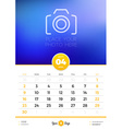 Wall Calendar Template for 2017 Year April Design vector image vector image