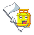 with flag gas tank cylinder isolated on mascot vector image