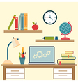 Workplace with high school object and college vector image vector image