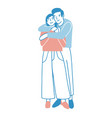 young man and woman warmly hugging or cuddling vector image