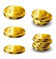 Gold coin set vector image