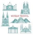 World travel landmarks thin line icons vector image