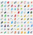 100 photo icons set isometric 3d style vector image vector image