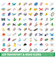 100 transport and road icons set isometric style vector image