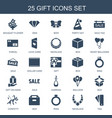 25 gift icons vector image vector image