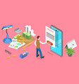 3d isometric flat concept mobile invoice vector image