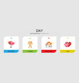 4 day flat icons set isolated on infographic vector image vector image