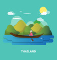 a woman with boat on the river design in vector image vector image
