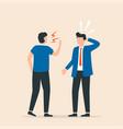 angry boss shouting to employee conflict vector image