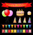 birthday party design elements set vector image