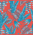blue tropical leaves seamless living coral vector image