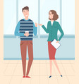 boss and worker employee and employer vector image vector image