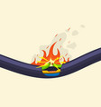 broken short circuit burning electrical cable wire vector image vector image
