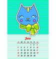 Calendar 2017 with cats June In cartoon 80s-90s vector image vector image
